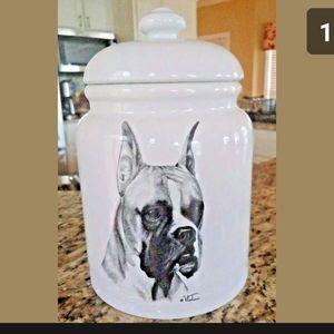 Boxer Porcelain Cookie Treat Jar Vladimir